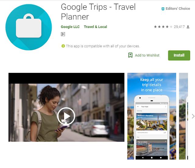 Google Trips display