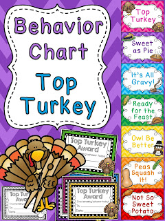 Top Turkey Thanksgiving behavior chart - check these out! There's ones for every holiday!