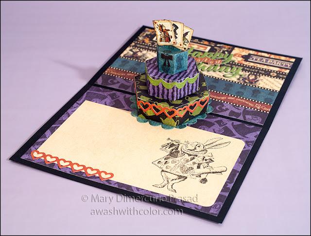 Alice in Wonderland, White Rabbit Pop-up Belated Birthday Card