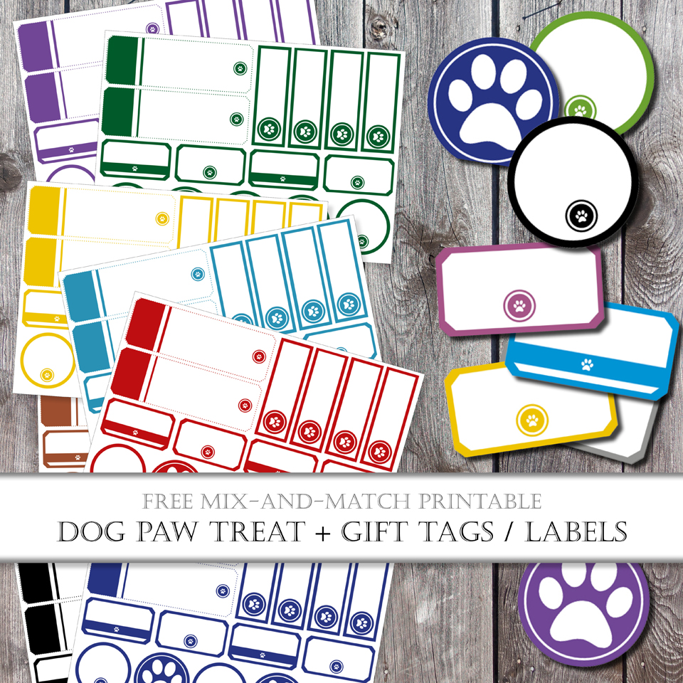 picture relating to Free Printable Paw Prints titled Absolutely free Printable Combination-and-Video game Pet dog Take care of Tags and Labels