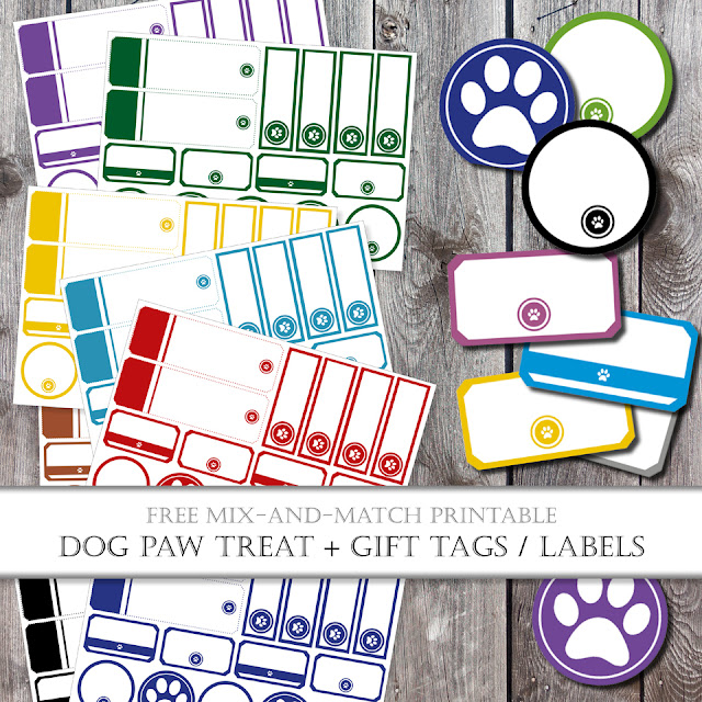 Printable paw print pet tags and labels in a variety of different colours