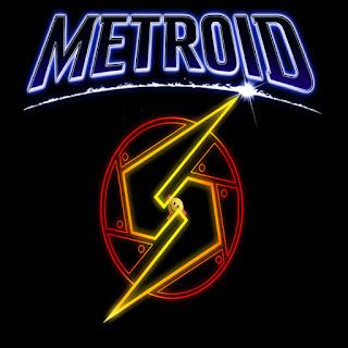 Metroid, logo con el texto arriba y abajo una especie de S amarilla inscrita en un círculo rojo