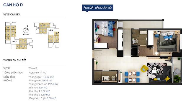 Mặt bằng chi tiết căn hộ 89 m2 - Rivera Park Hà Nội