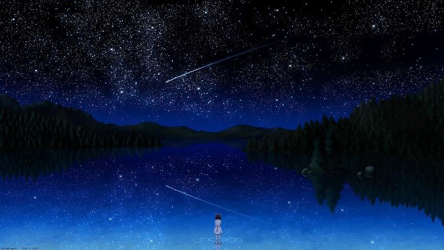 Anime, Night, Sky, Stars, Lake, Landscape, Scenery, 4K ...