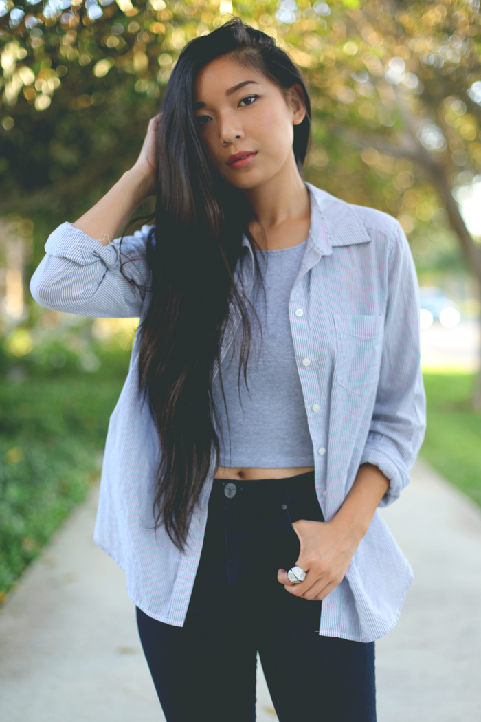 Stephanie Liu of Honey & Silk wearing Forever 21 shirt, Necessary Clothing crop top, Triarchy Denim, Aldo x Preen shoes, and CC Skye Bonnie & Clyde ring