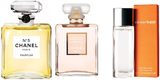 coco chanel parfum No 5 Mademoiselle toilette Clinique Happy bloom bottles review