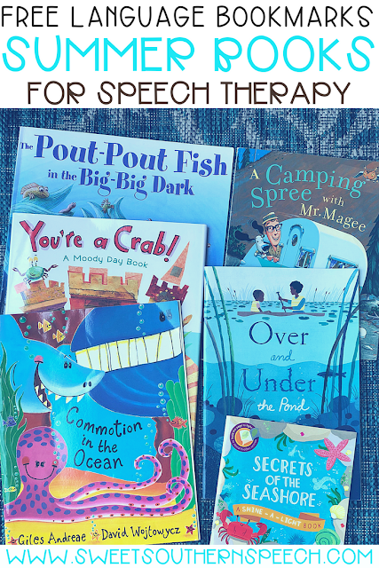 FREE download for 6 summer picture books to use in your speech therapy activities.