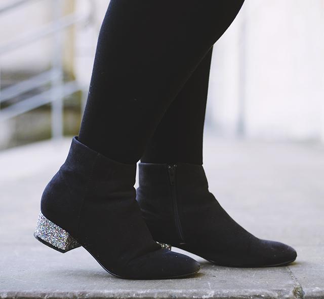 Glitter heel ankle boots ASOS Afira