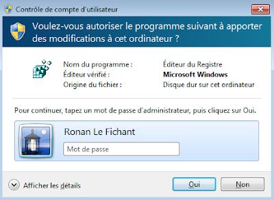 L'invite de consentement avec mot de passe de Windows