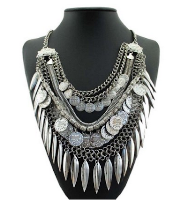 bohemian necklace under $10, silver boho necklace