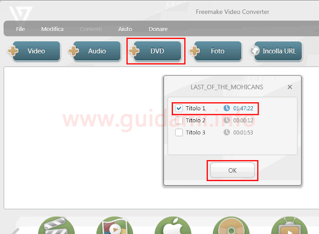 Freemake Video Converter aggiungere titolo DVD