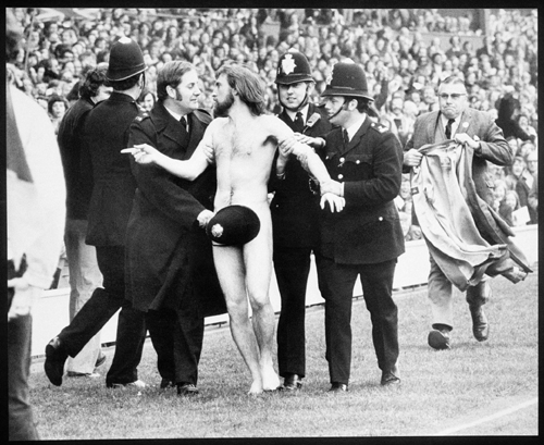 Ian Bradshaw photo of streaker Michael O'Brien. England-France rugby match at Twickenham in February 1974