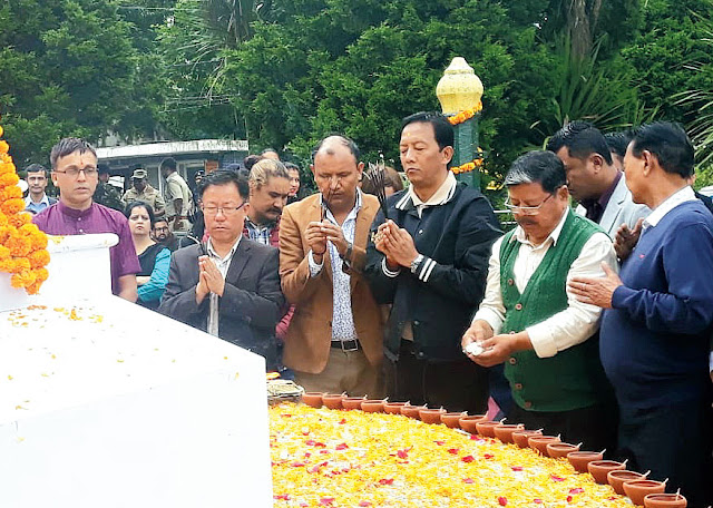 Binay Tamang pay homage to martyrs at Gorkha Rangmanch Bhavan and in front of the GNLF office