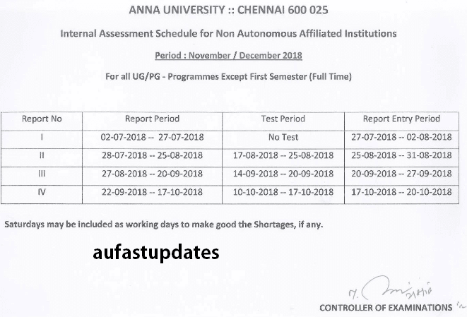 Academic and Assessment Schedule - Nov./Dec. 2018 - ODD Semester (Except First Semester Full Time)