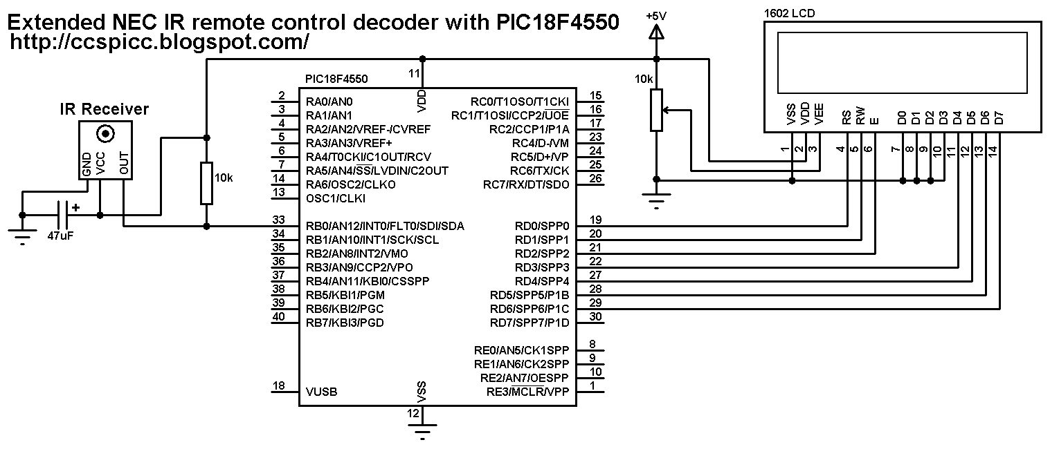 Extended NEC IR remote control decoder with PIC18F4550 microcontroller