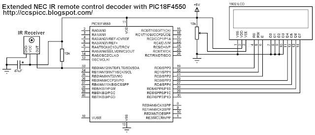 Extended NEC protocol for IR remote control decoder using PIC18F4550 circuit - CCS PIC C