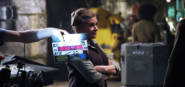 Carrie Fisher (Leia Organa) pe platourile de filmare pentru Star Wars: The Force Awakens