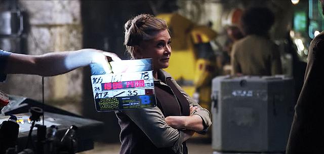 Carrie Fisher (Leia Organa) pe platourile de filmare pentru Star Wars: The Force Awakens