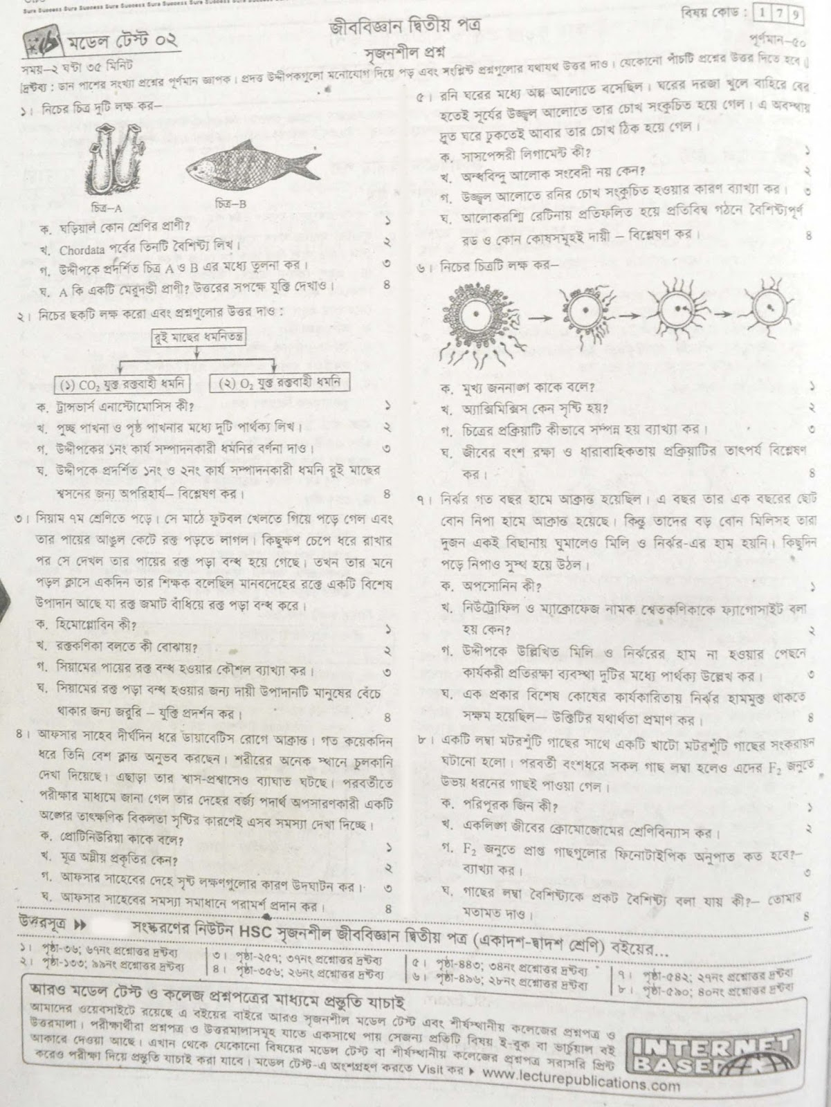 hsc Biology 2nd Paper suggestion, exam question paper, model question, mcq question, question pattern, preparation for dhaka board, all boards