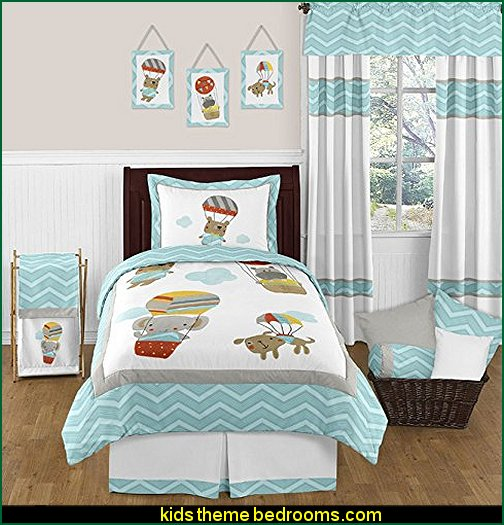 Balloon Buddies Animal Jungle Hippo, Elephant, Dog Bear 4 Piece Chevron Twin Boy or Girl Bedding Set