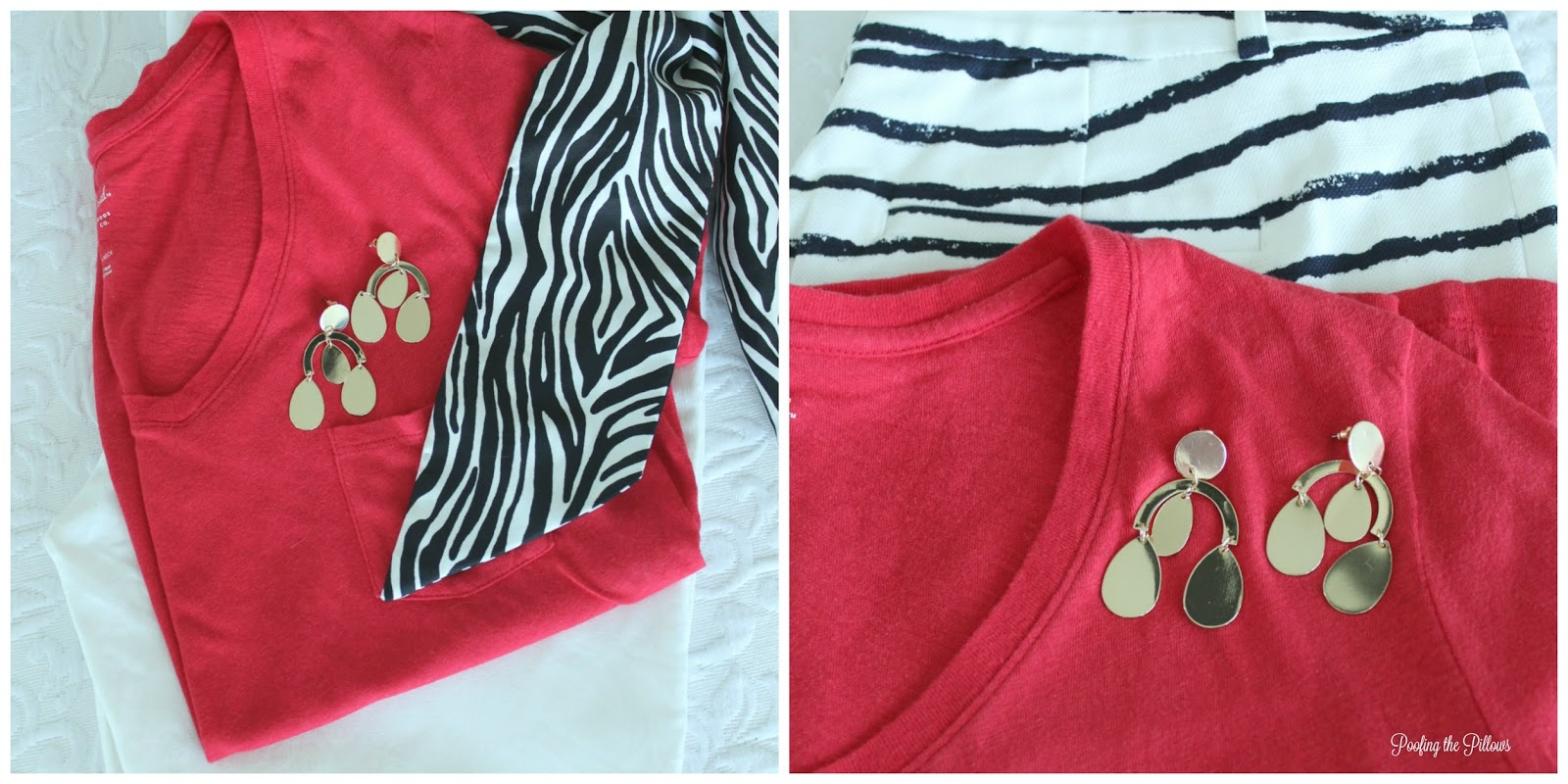 Style on a budget - Red t-shirt styled two ways.