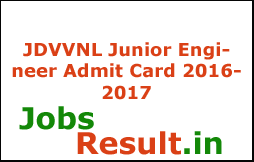 JDVVNL Junior Engineer Admit Card 2016-2017