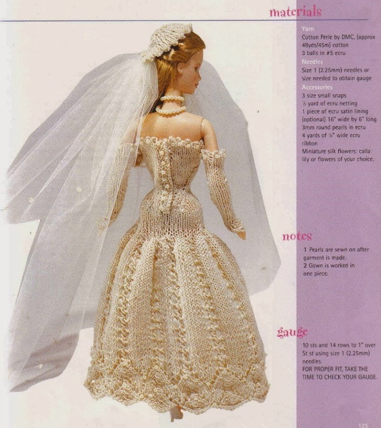 Vestido de Noiva de Tricô Para Barbie Elegant Bride