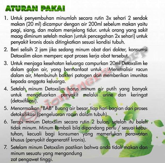 aturan pakai MSI Detox Slim Ekstrak Teh Hijau & Kulit Manggis