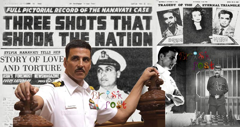 Rustom Akshay Kumar with Navy Uniform in courtroom with original real Nanavati case images in old newspaper