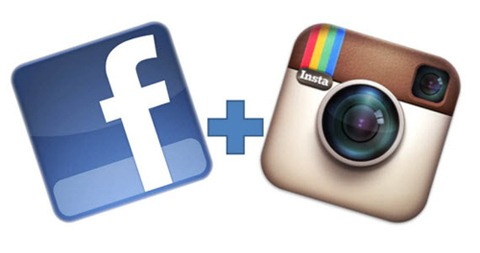 Logo di Facebook con logo di Instagram