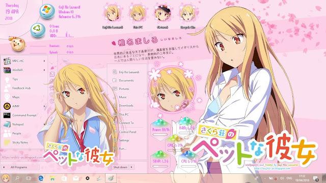 Windows 10 Ver. 1703 Theme Shiina Mashiro by Enji Riz
