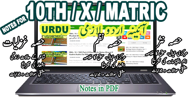 Free Download 10th Class Urdu Notes Hissa Nasar, Nazam