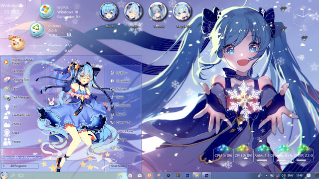 Windows 10 Ver. 1709 Theme Snow Miku by Enji Riz