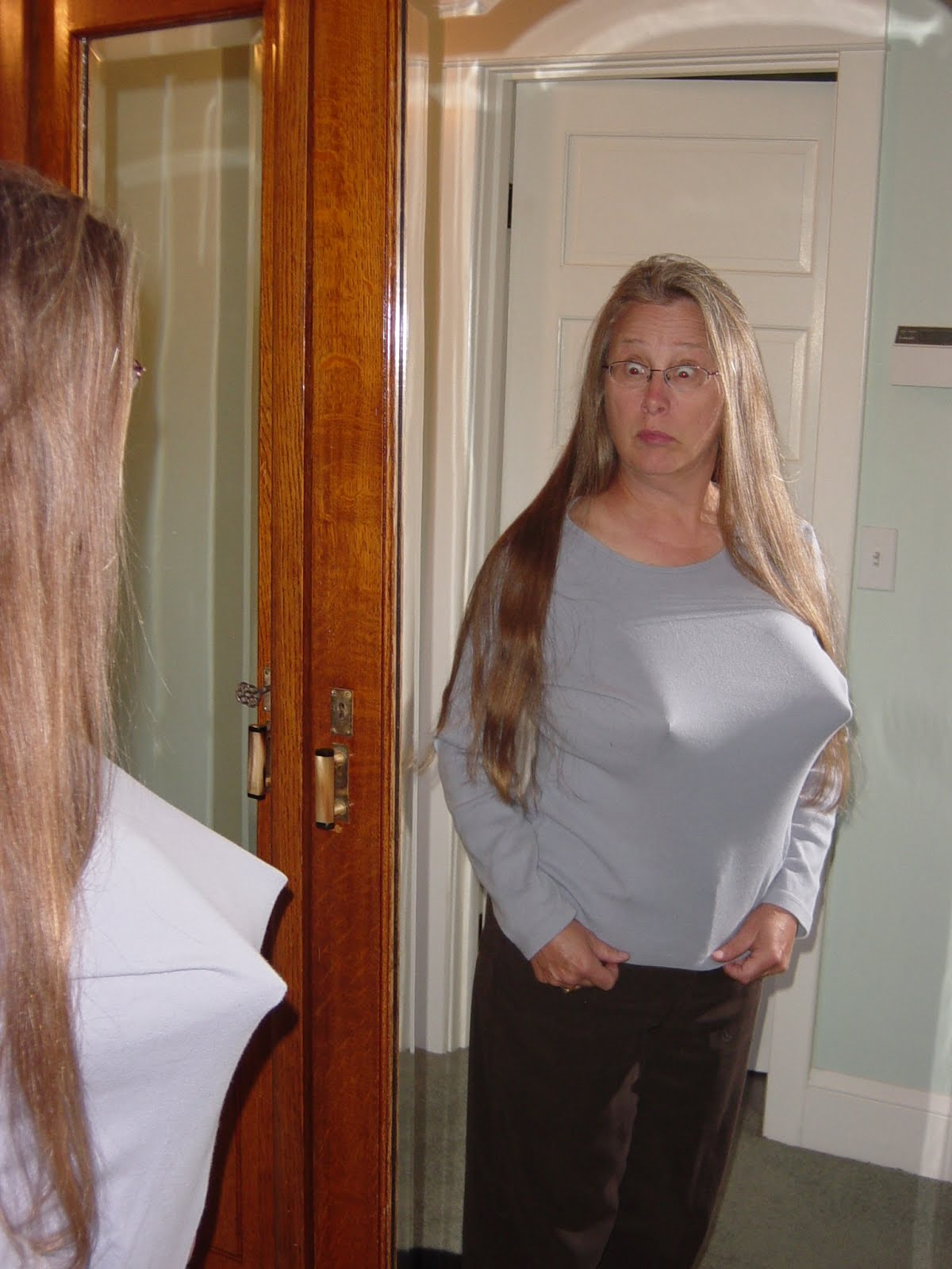 Young women with saggy breasts