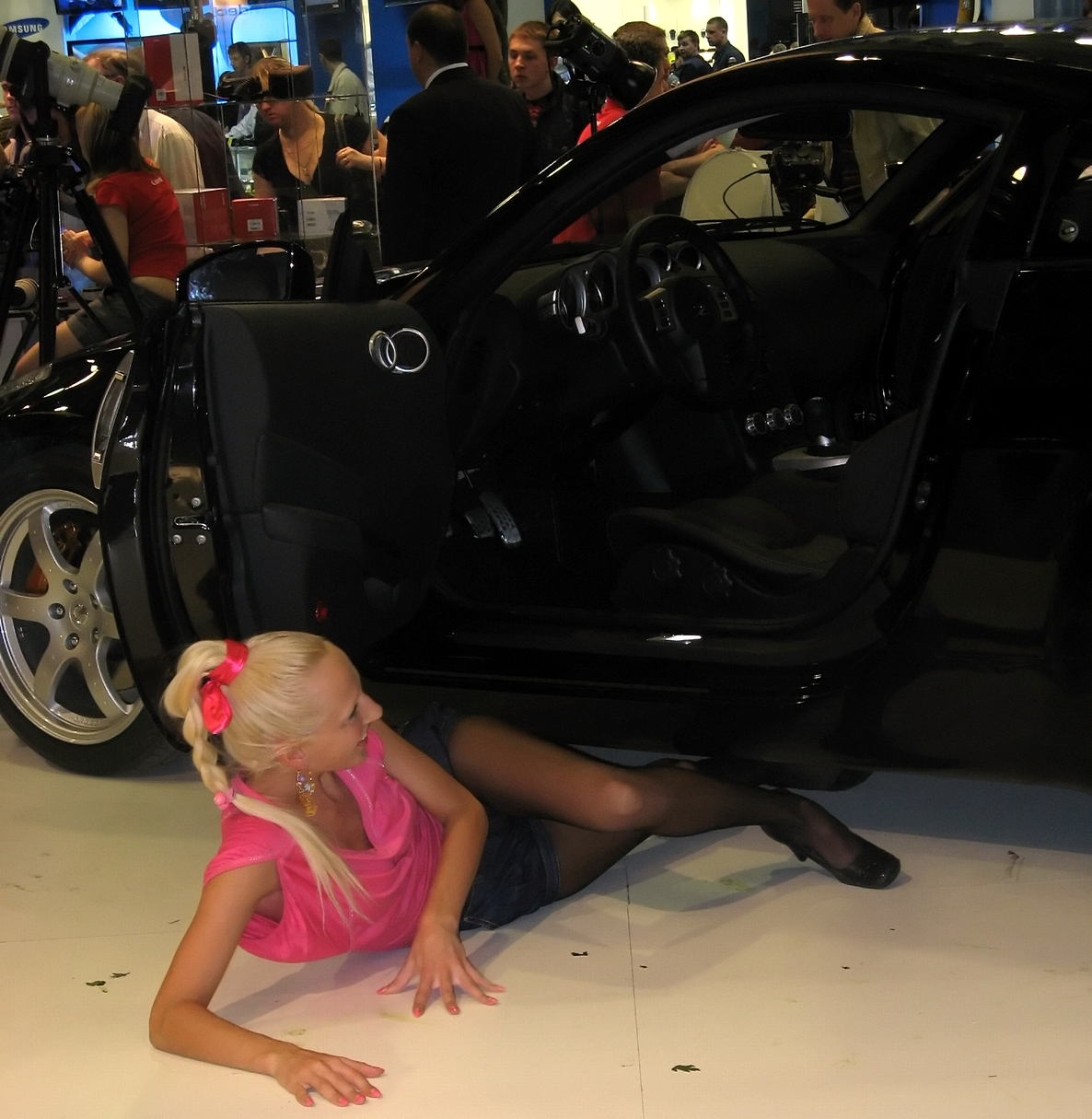 Moscow Blonde Model Posing Near The Car