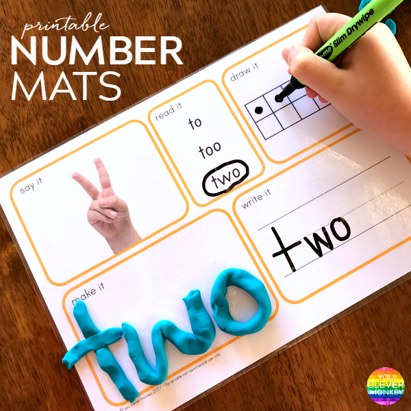 Number Say It Read It Draw It Make It Write It Mats You Clever Monkey