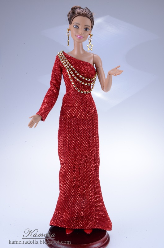 Red evening dress with zirconias for Barbie doll.