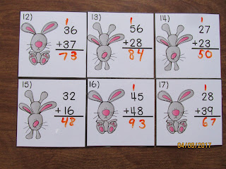 Easter Addition 2 Digit Regrouping Task Cards