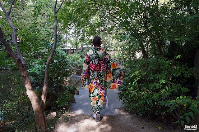 楽水園で着物、福岡