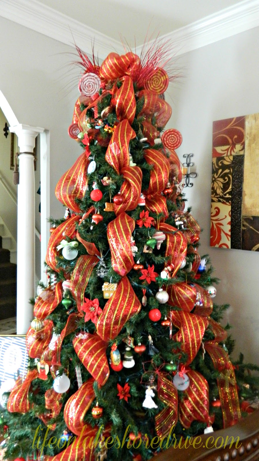 Christmas tree decorations with mesh - photo#54