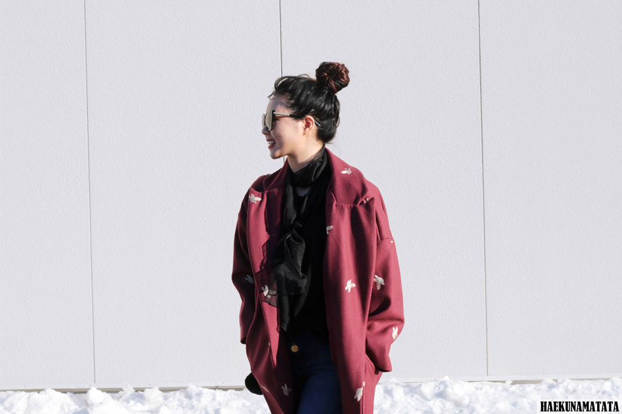The Perfect Oversized Cacoon Coat - Burgundy Blogger Style OOTD