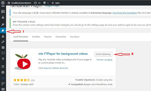 Video background dengan plugin mb.YTPlayer di wordpress