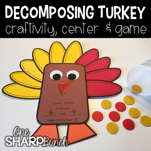 Build number sense with this interactive and thematic Decomposing Turkey!  Spill the cup of counters and practice decomposing 5 or 10.  Gather the correct number of feathers and place them aroudn the turkey.  Then, sing the fun, little chant!