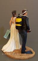 cake topper milano sposini personalizzati scultura per torta nozze bombole sub orme magiche