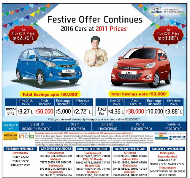 Get Hyundai Cars at 5 years back price | Festive offers continues for Hyundai Cars | November 2016 discount offers