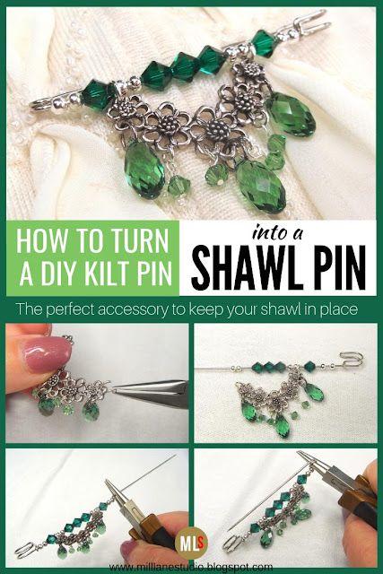 How to turn a DIY kilt pin into a shawl pin inspiration sheet.