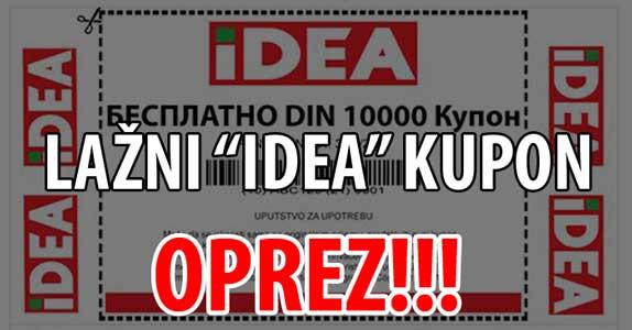 "OPREZ!!! Lažni ""Idea"" kupon od 10000 dinara"