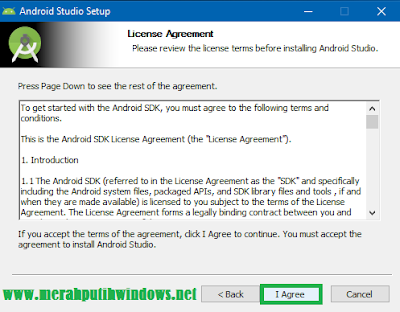 license agreement of android studio