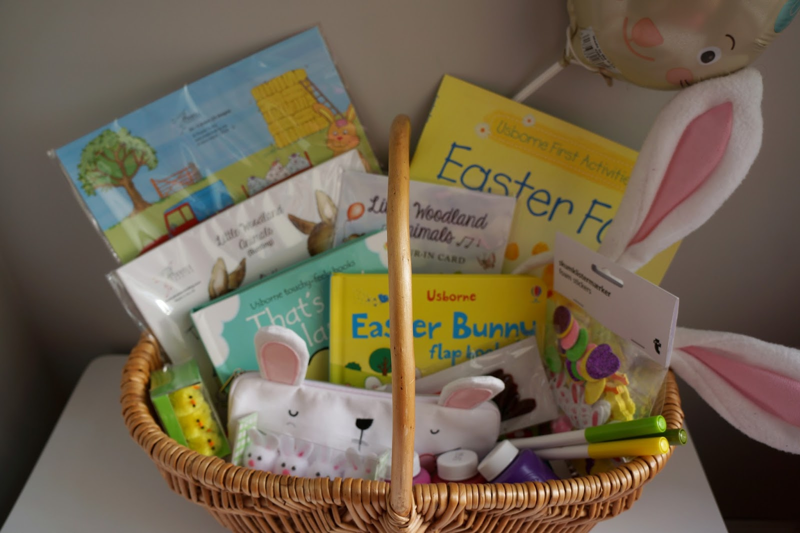 Easter basket filled with Easter gifts