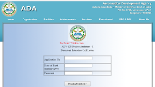 Aeronautical Development Agency Admit card
